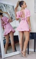 White & Pink Gingham Check Back Tie Detail Puff Sleeve Mini Dress